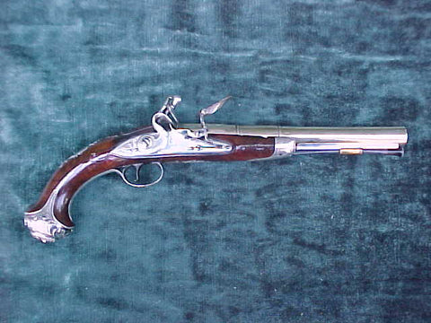 Antique English Silver Mounted Flintlock Pistol by, BRANDER, LONDON