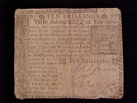 American Colonial Continental Currency, #1111 Ten Shillings Denomination