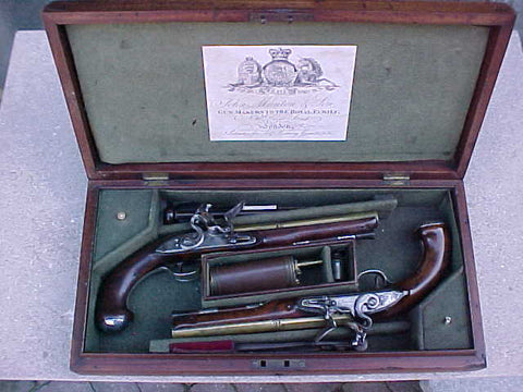 English Cased (PAIR) of Georgian Silver Mounted Brass Barrel Flintlock Holster Pistols By, PROBIN, London, #1538 Firearms