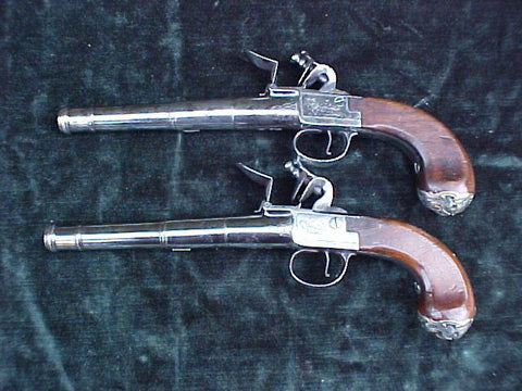 (PAIR) of English Full Size Silver Mounted Box-Lock Flint Pistols by,  GRIFFIN, LONDON, #3062 Firearms - Tortuga Trading