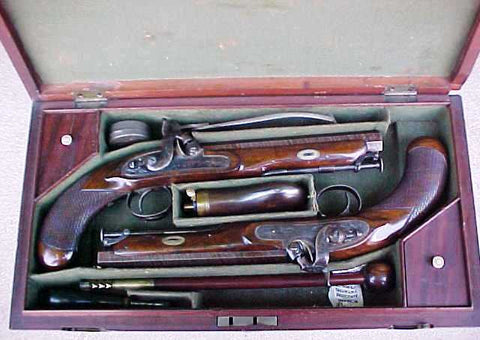 A Fantastic Near Mint Cased Set of English Percussion Sea Captain's Pistols