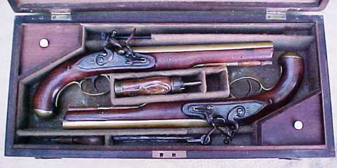 An English Cased (PAIR) of Brass Barrel Flintlock Pistols by PHILLIPS, LONDON