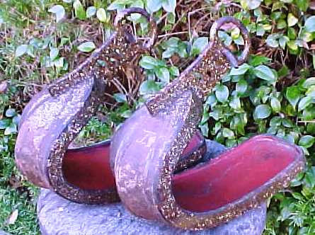A PAIR of Japanese EDO PERIOD Samurai Armored Foot Stirrups (Abumi)