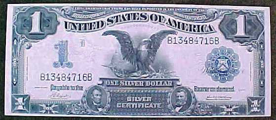 Rare United States 1 Dollar Black Eagle Large Note SILVER ...