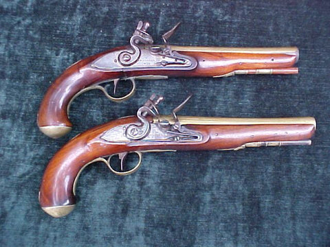 (PAIR) of English/American War of 1812 Period Brass Barrel Flintlock Pistols by W. KETLAND & Co.