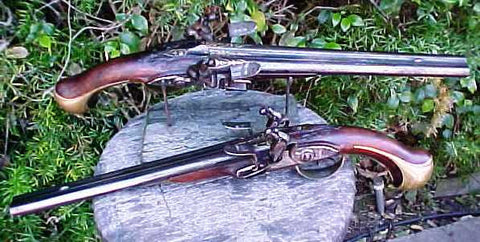 A Spectacular Museum Quality (BRACE) of Massive French Double Barrel Flintlock Holster Pistols