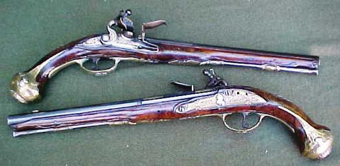 A Wonderful Brace of Italian Flintlock Holster Pistols by Carlo Nicolin
