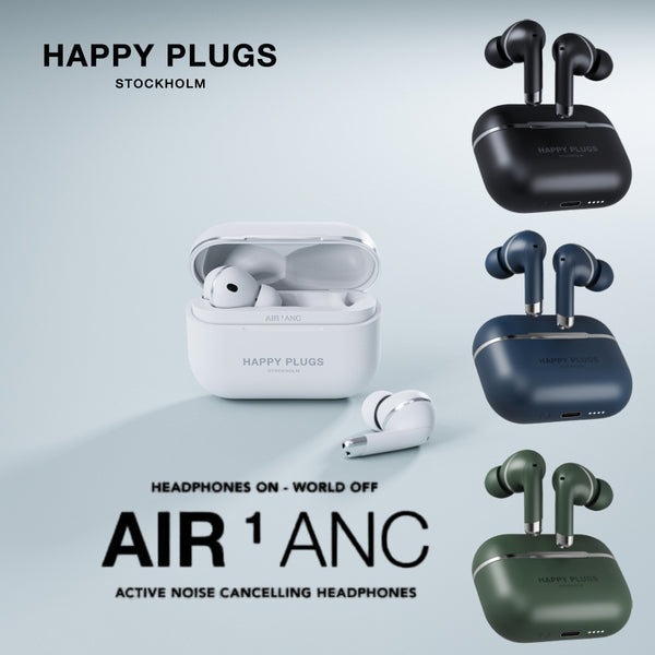 Happy Plugs Air 1 Active Noise Cancellation True Wireless Earphones with Transparent Mode Wireless Charging Dual Mic