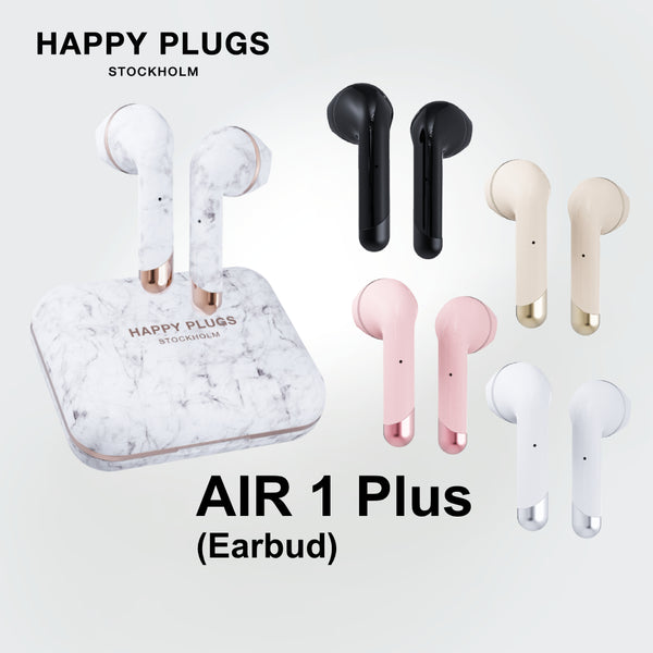 Happy Plugs Air 1 Plus Earbud True Wireless Earphones with Dual Microphones Up to 40 hours battery life