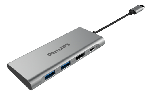 Philips DLK5524C USB C 4-in-1 Mini Hub, 2 x USB 3.0 / Type-C 60W / HDMI - Grey