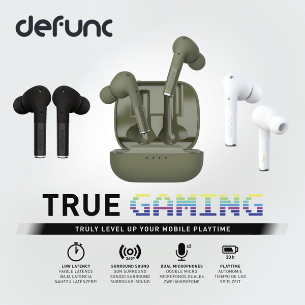 Defunc True Gaming low latency audio 360 degree surround sound dual microphones true wireless earphones