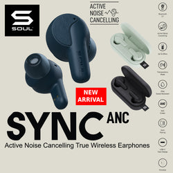 SOUL SYNC ANC Active Noise Cancelling True Wireless Earphones Bluetooth 5.1 Audio Transparency Mode IPX4 USB C 25 hours