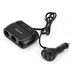Philips Car Charger USB + 3 Cigarette Lighter Sockets (max 2.1A) - Black