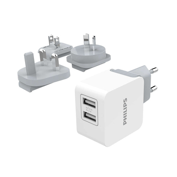 Philips Ultra Fast Travel Charger 2 USB (max 3.1A) - White