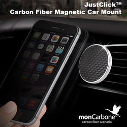 monCarbone JustClick Carbon Fiber Magnetic Car Mount - Black
