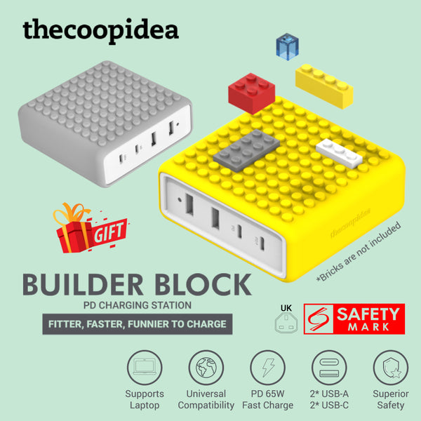 thecoopidea Builder Block PD Charging Station max 65W Fast Charge USB Type C Lego block compatible [FREE Powerbank]