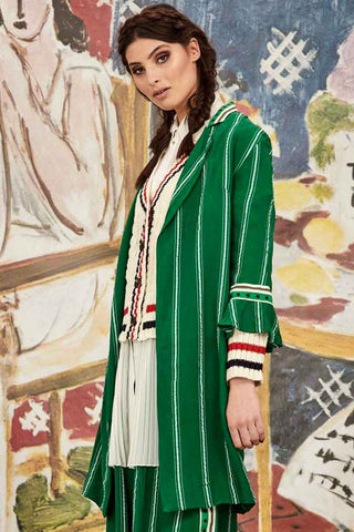 Curate Star Duster Jacket in Green Stripe
