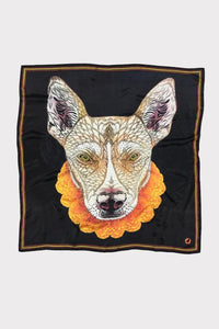 Raw Artistry Silk Scarf Brownie the Dog by Flox