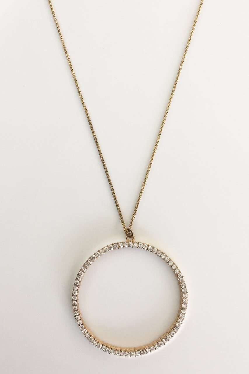 Four Corners Diamante Hoop Necklace