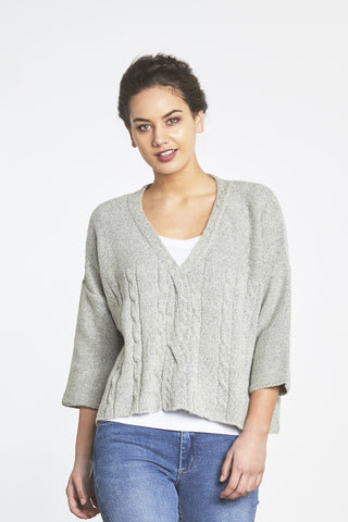 Random Label Cropped Grey Sweater