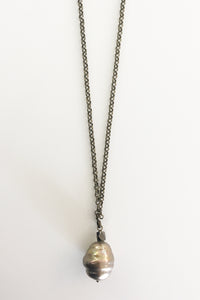 Jewelarto Pearl Drop Necklace in Creme Caramel