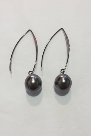 Four Corners Black Pearl Earrings