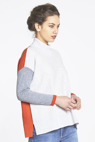 Random Label Colour Block Sweater