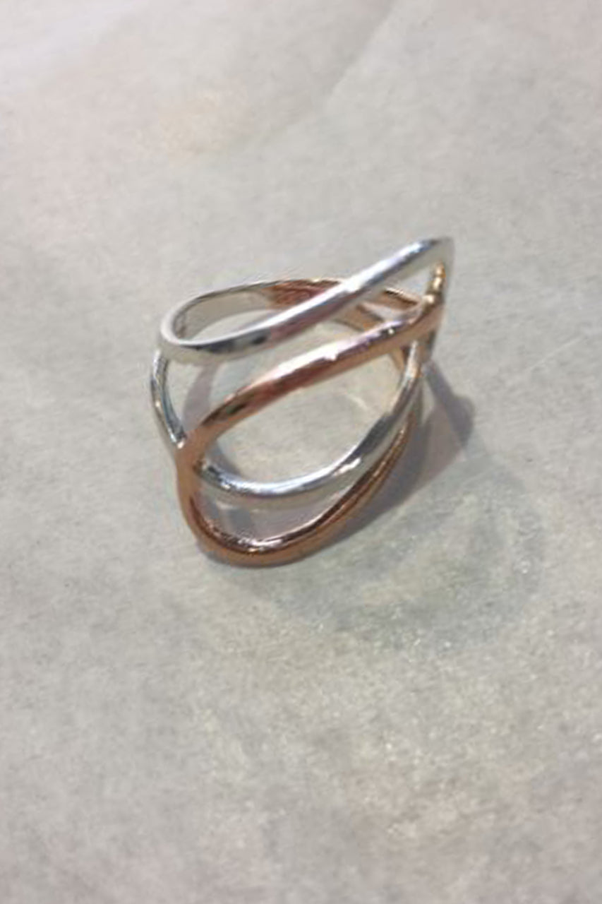 Fabienne Stirling Silver and Rose Gold Curl Ring