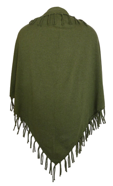 Random Label Fringe Scarf in Green