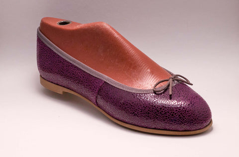 Purple eggshell leather