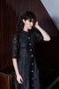 SCARLET DRESS - BLACK LINEN / BLACK LACE