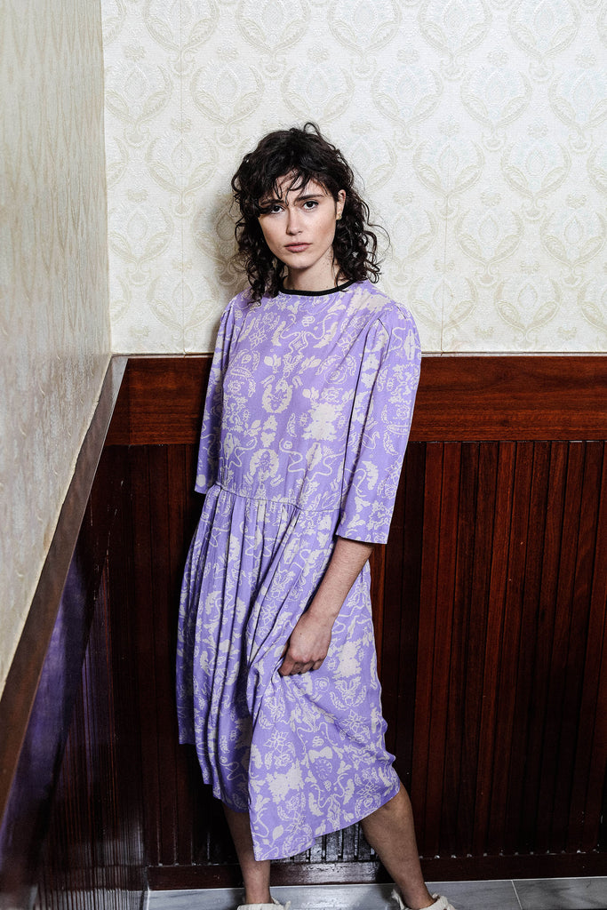 BIOGRAPHY T DRESS - WALLPAPER LILAC PRINT