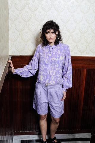 MAISIE SHORT - EMBROIDERED  LILAC
