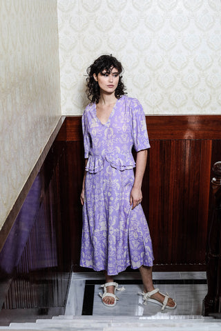 AUDREY DRESS - WALLPAPER LILAC PRINT
