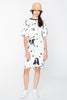 CREATURES TEE DRESS - WHITE CHAIN N HOUND PRINT
