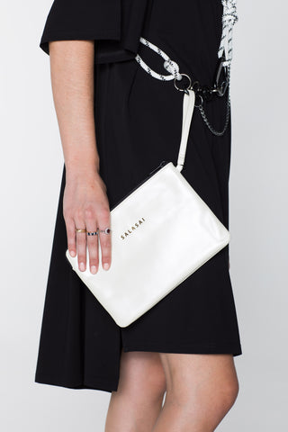 CLUTCH N CARD HOLDER - WHITE PEARL LEATHER