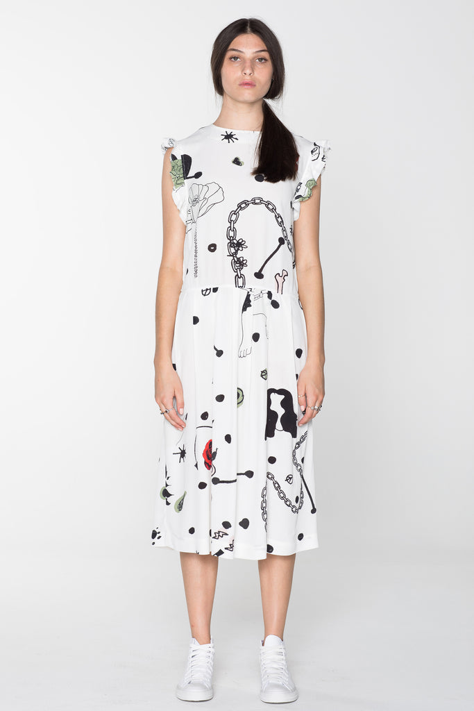 DOMESTIC DRESS - WHITE CHAIN N HOUND PRINT