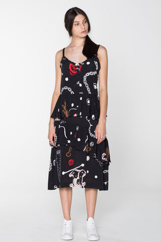 BEG FOR LOVE DRESS - BLACK CHAIN N HOUND PRINT