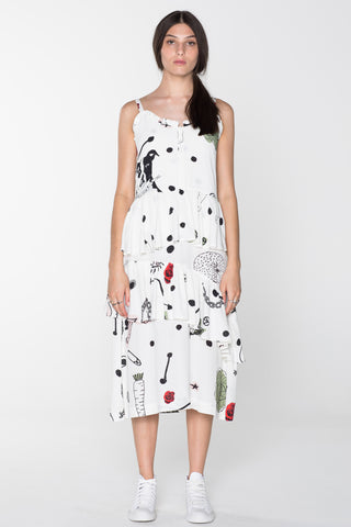 BEG FOR LOVE DRESS - WHITE CHAIN N HOUND PRINT