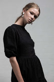 STONE ROSES DRESS- BLACK EMBROIDERED LACE