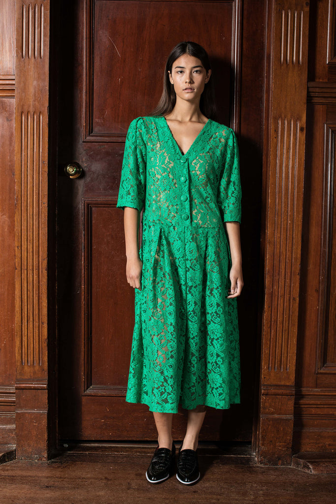 MONARCHY DRESS - PEA GREEN LACE