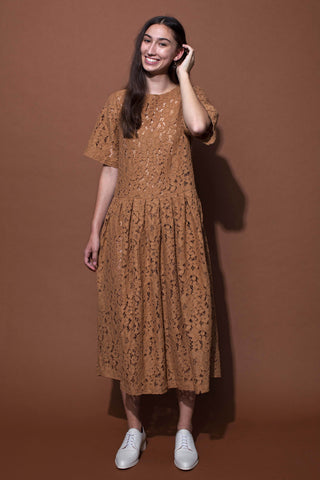 PATIENCE DRESS - TOBACCO LACE