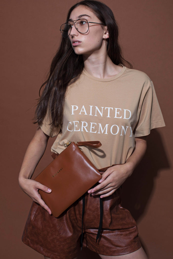 PAINTED CEREMONY T-SHIRT - BEIGE