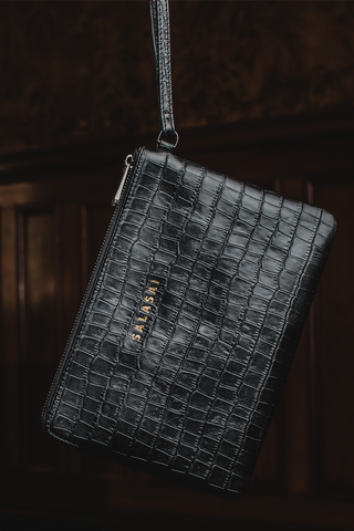 CLUTCH AND CARD HOLDER - BLACK ETHICAL CROC LEATHER