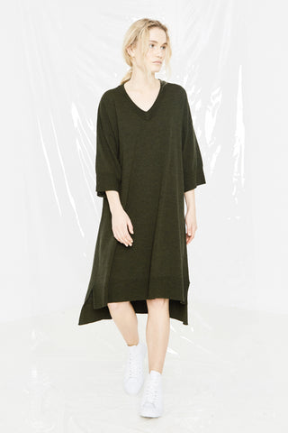 LEISURE KNIT T DRESS - KHAKI