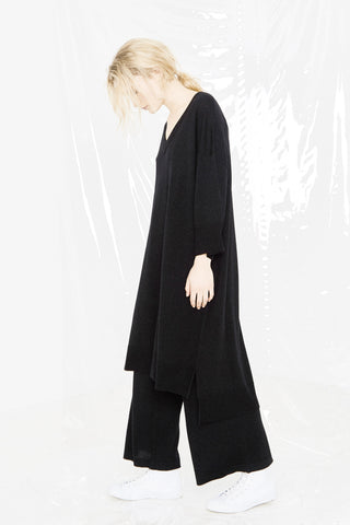 LEISURE KNIT T DRESS - BLACK