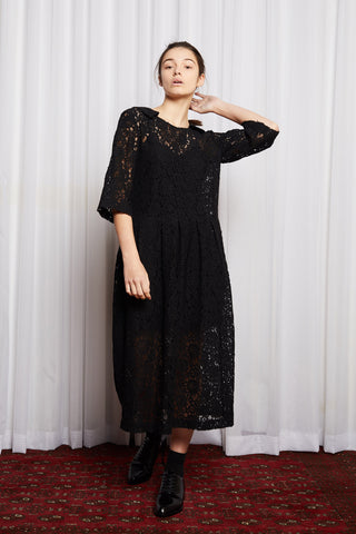 STORY LINE DRESS - BLACK EMBROIDERY LACE
