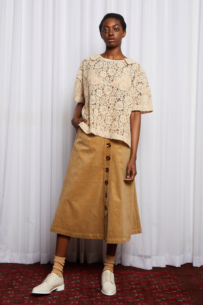 COLD TOWN SKIRT - BEIGE CORDUROY (SAMPLE)