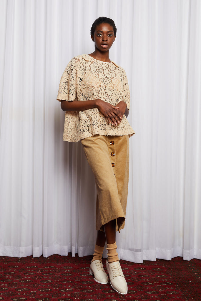 STORY LINE SHIFT - CARAMEL EMBROIDERY LACE