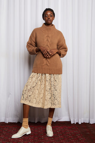 MULHOLLAND JUMPER - BROWN MERINO HAND KNIT